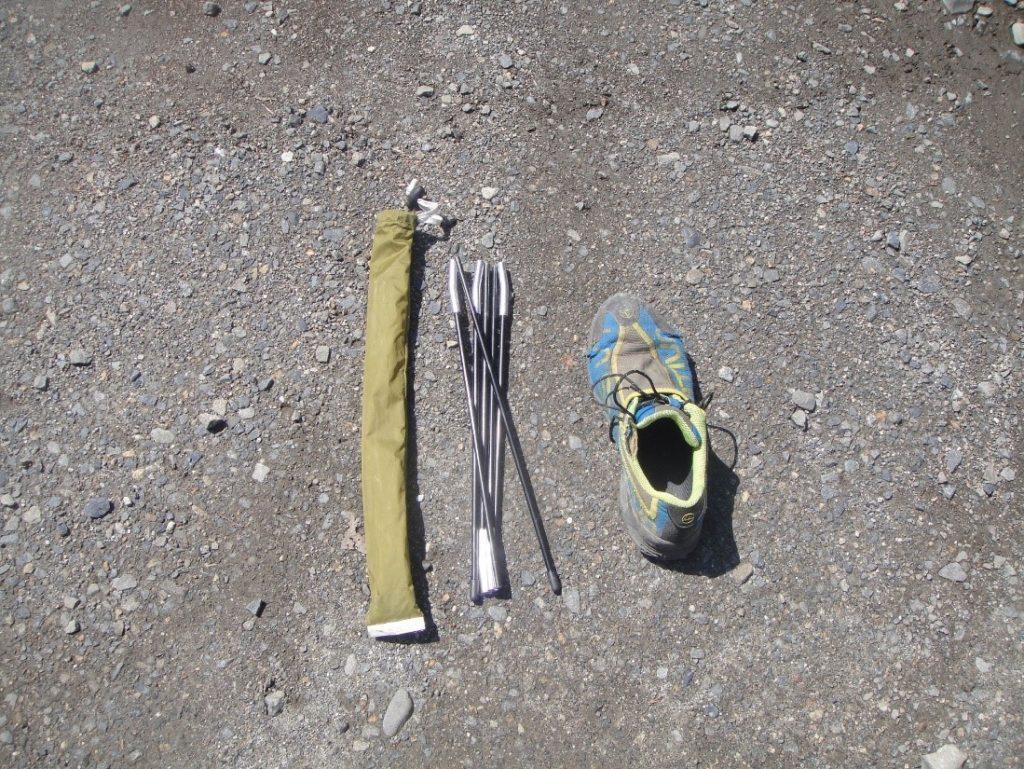 ツェルトインナーポールの大きさを靴と比較