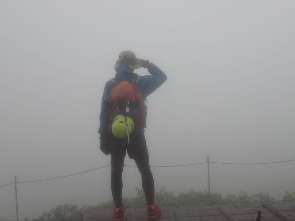霧のため全く展望が無い大山山頂