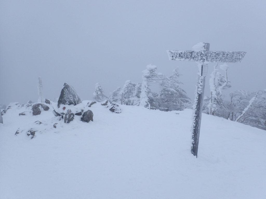 厳冬期の北横岳南峰山頂