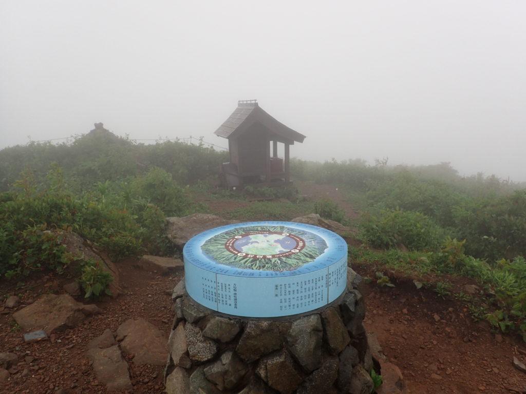 荒島岳山頂の祠と展望案内盤
