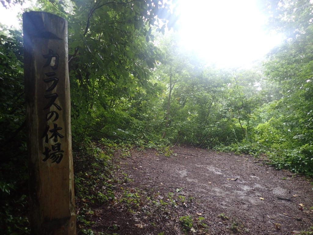 岩木山のカラスの休場の道標