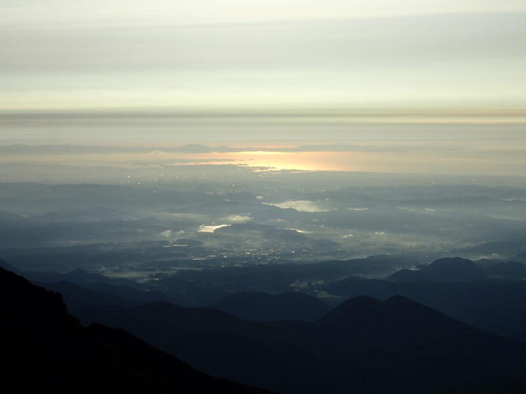 蔵王山から見る海