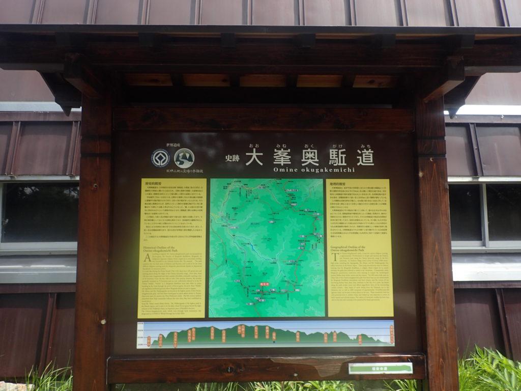 大峯奥駈道についての看板