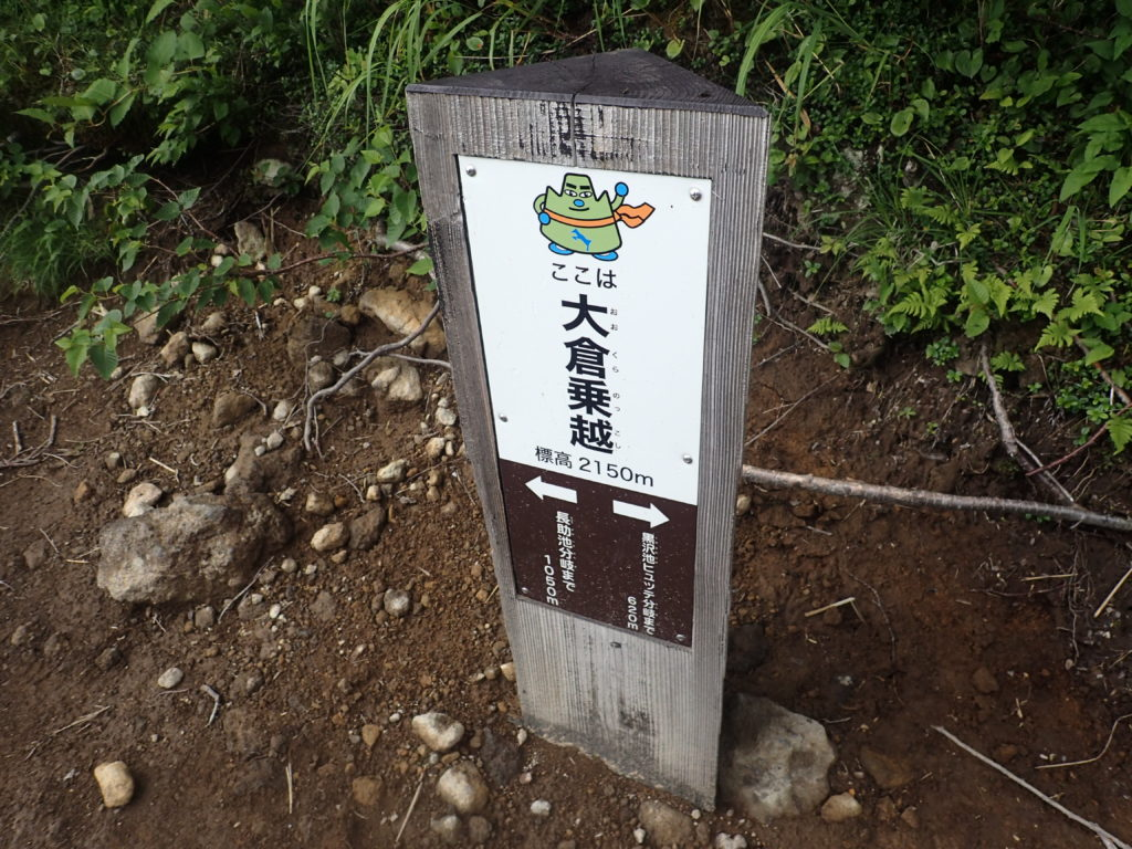 妙高山登山道(大倉尾根)の大倉乗越の道標