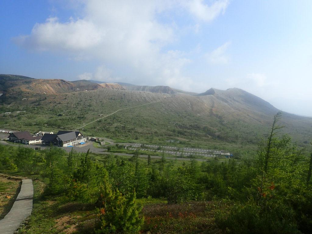 草津白根山の火口方面
