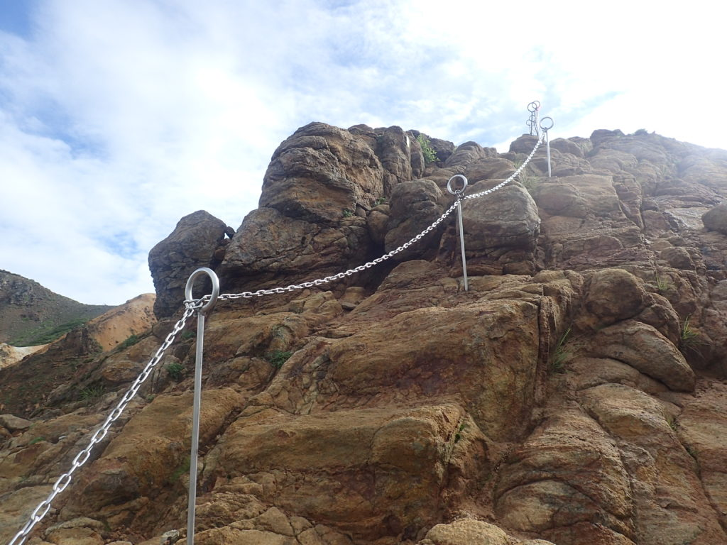 那須岳の朝日岳の鎖場