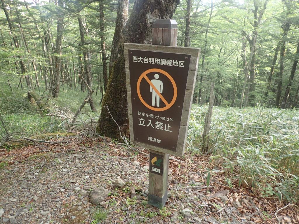 認定者以外の西大台ヶ原山への立入を禁止する看板