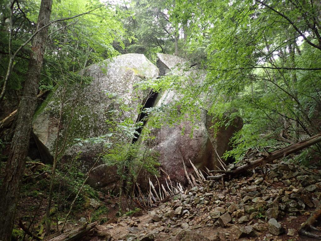 瑞牆山登山道にある桃太郎岩