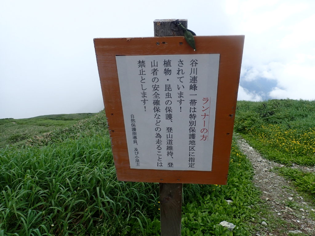 谷川岳の肩ノ小屋前にある谷川連山一帯を走ることを禁止する看板