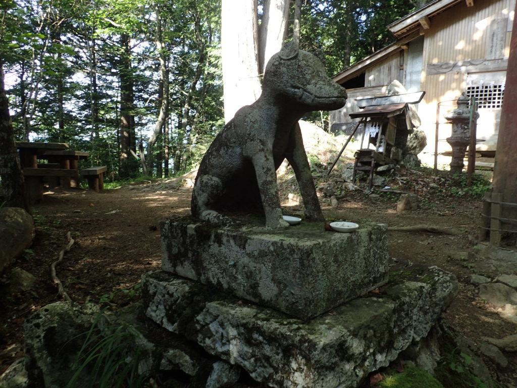 両神山日向大谷口ルート登山道の両神神社の狛犬