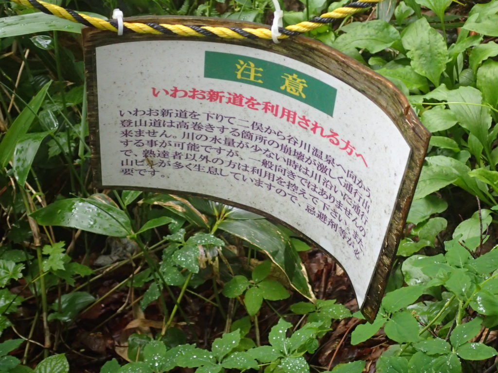 谷川岳のいわお新道についての注意書き
