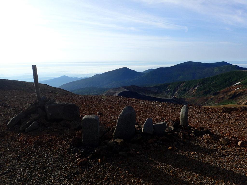 蔵王山稜線の石碑