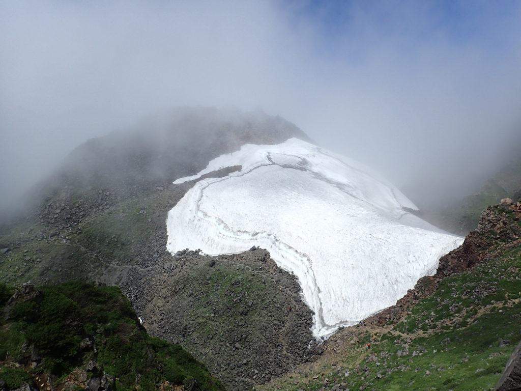 鳥海山の山頂と雪渓