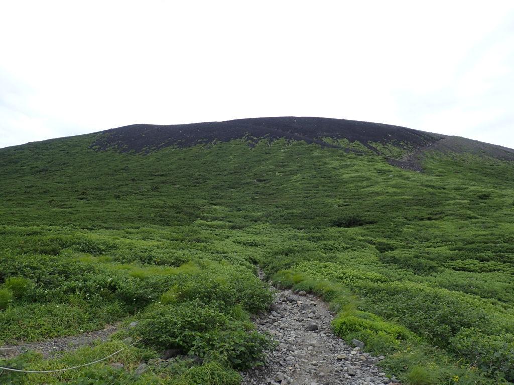 岩手山の8合目付近から見上げる山頂方向