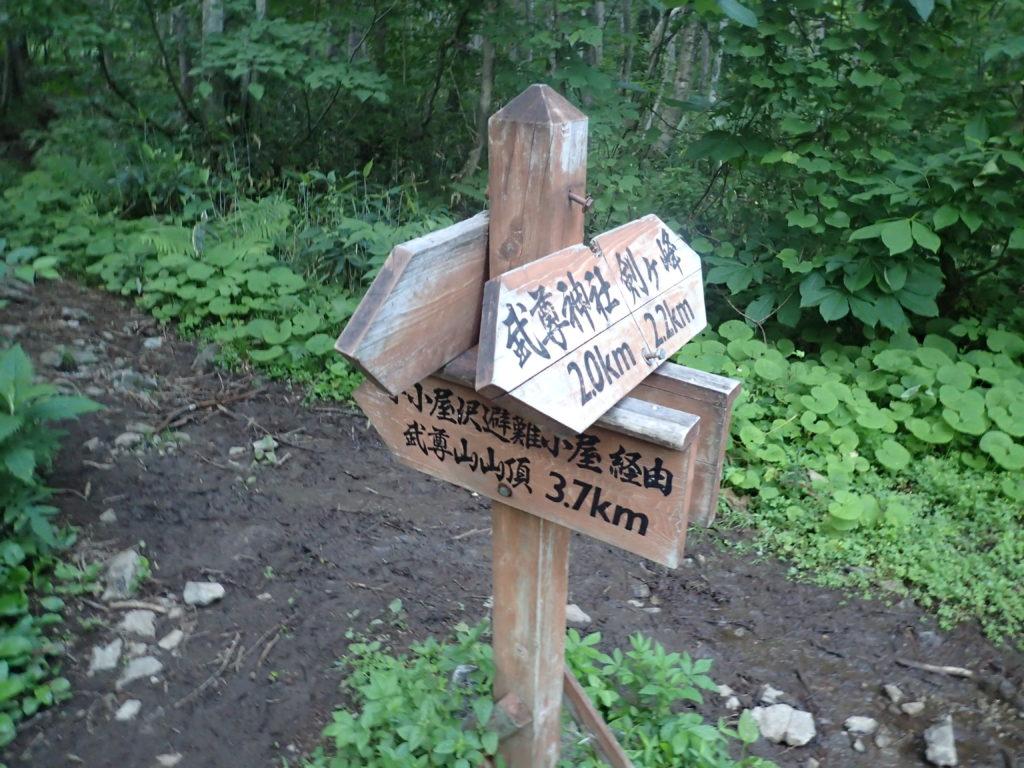 武尊山登山道の手小屋沢避難小屋ルートと剣ヶ峰山ルートの分岐