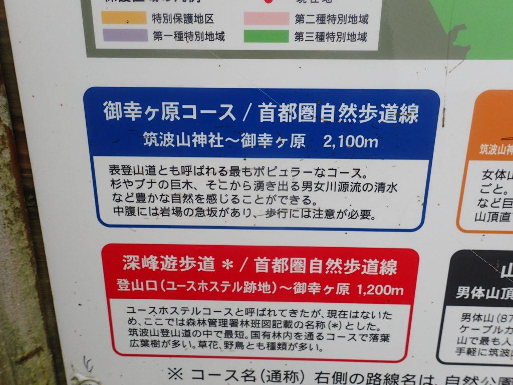 筑波山の御幸ヶ原コースについての説明の看板