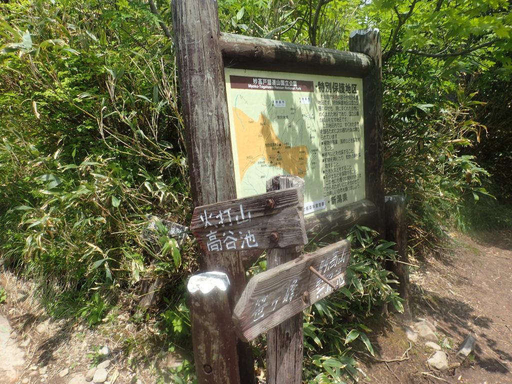 火打山登山道にある富士見平の看板