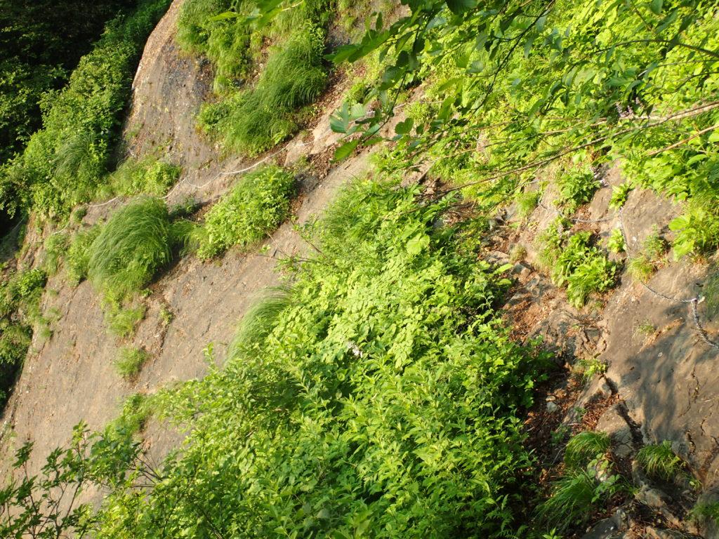 高妻山登山道の帯岩