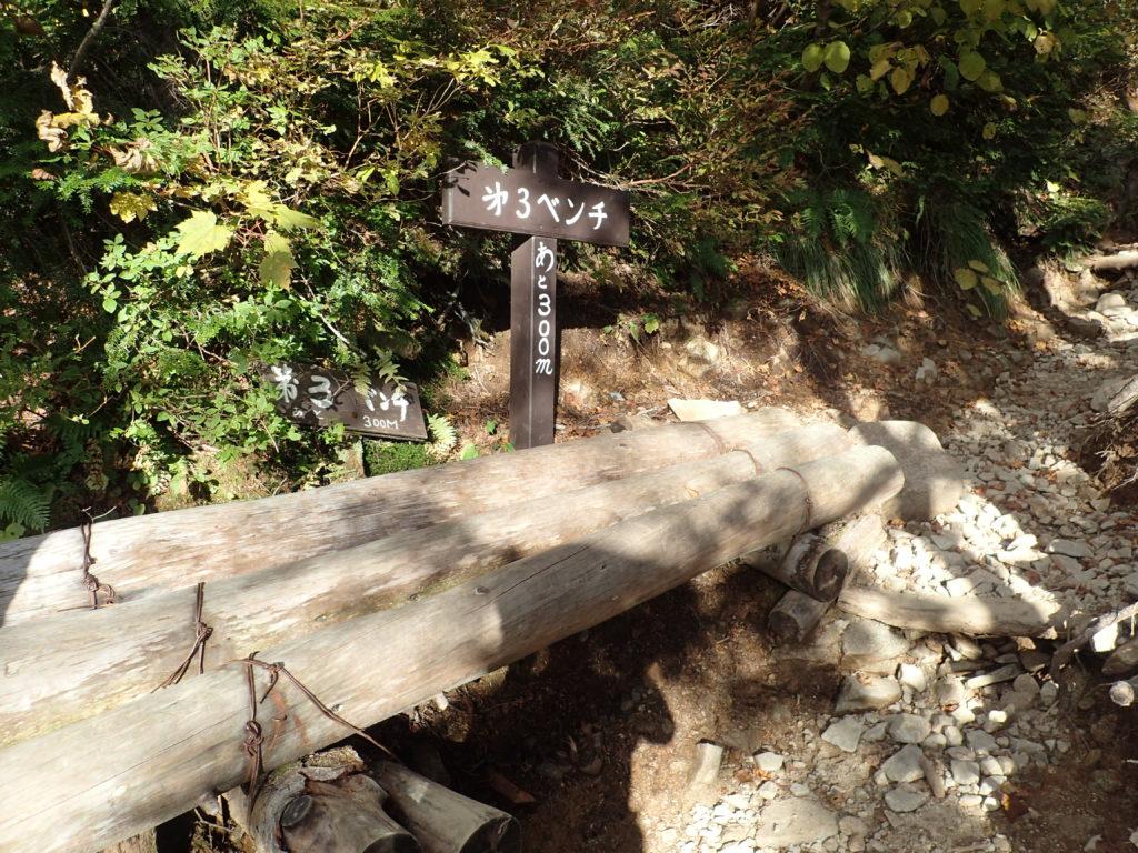 常念岳の一ノ沢ルートの第3ベンチ