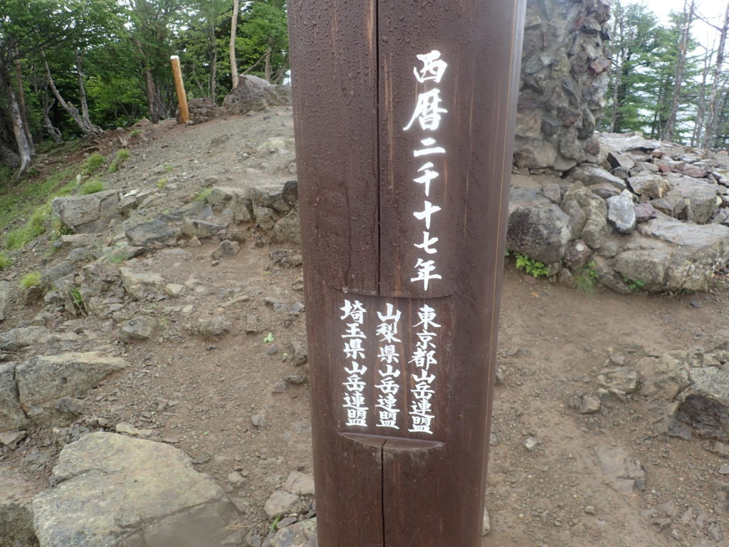 雲取山西暦二千十七年記念の柱