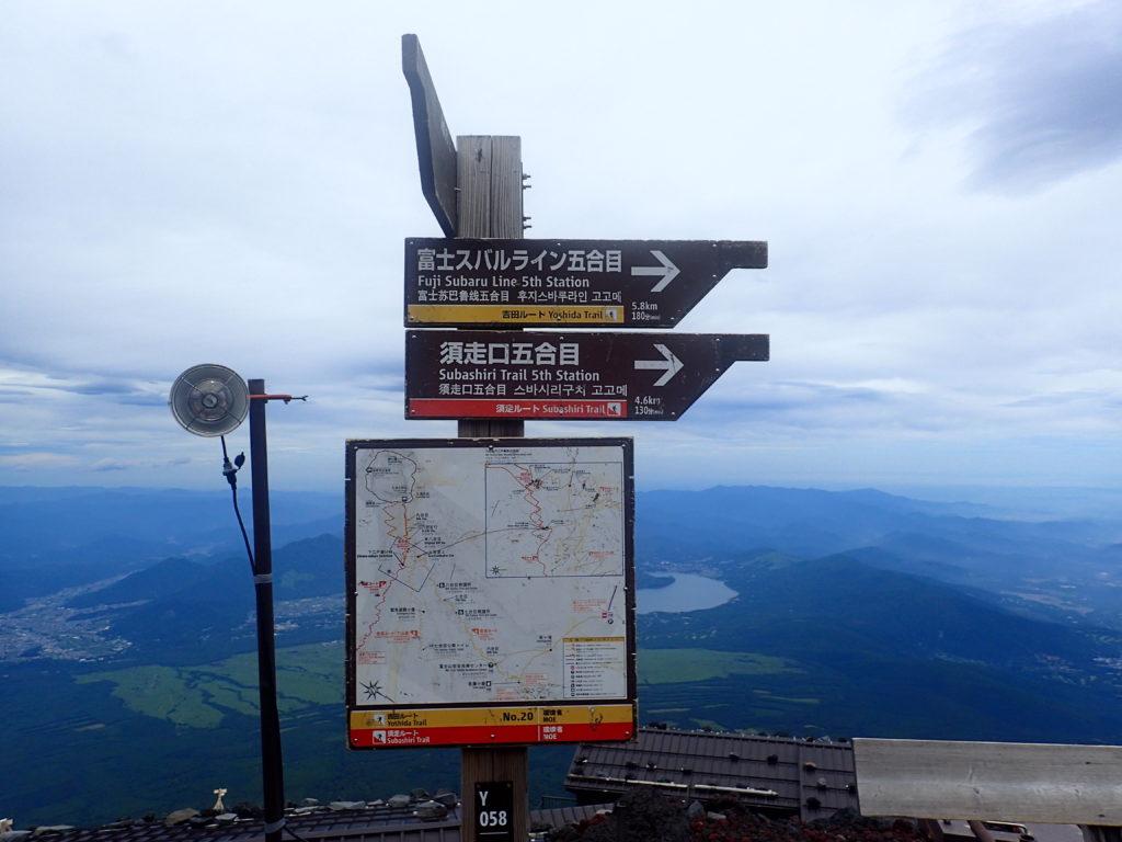 富士山本八合目にあるスバルライン5合目と須走口方面への下山道の看板