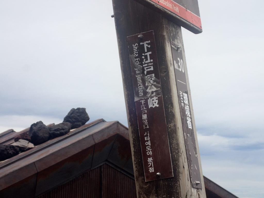 富士山下山道の吉田口と須走口の分岐の看板