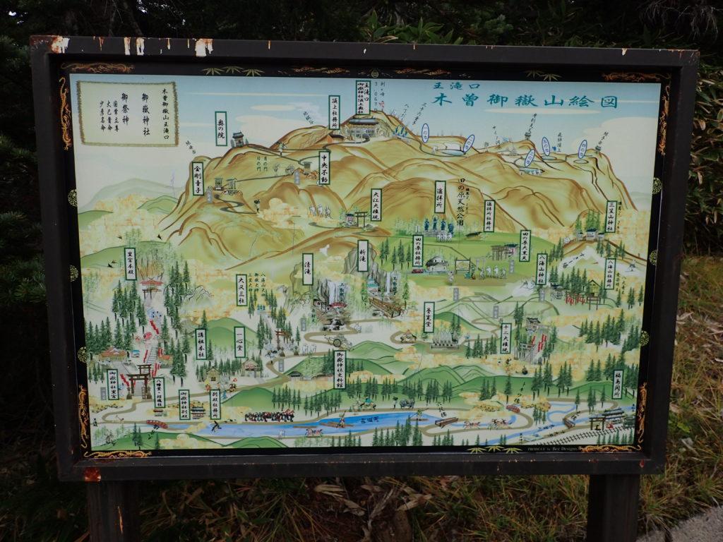 御嶽山の王滝ルートにある王滝口木曽御嶽絵図