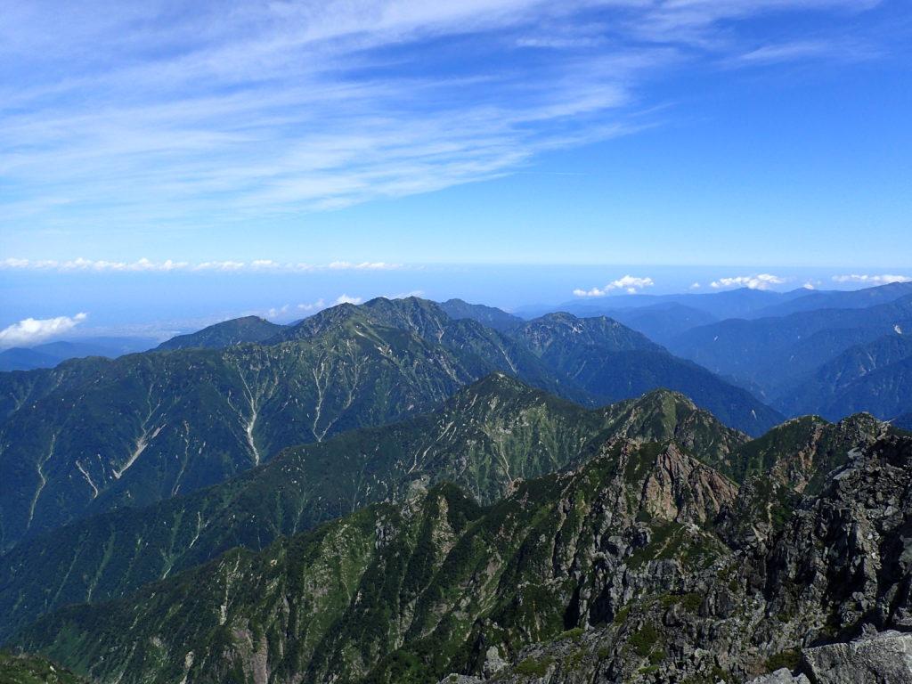 剱岳山頂から眺める大日岳、奥大日岳方面