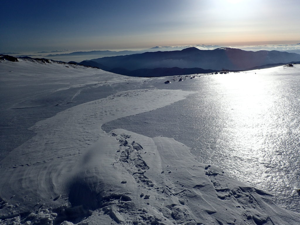 冬の乗鞍岳の雪原