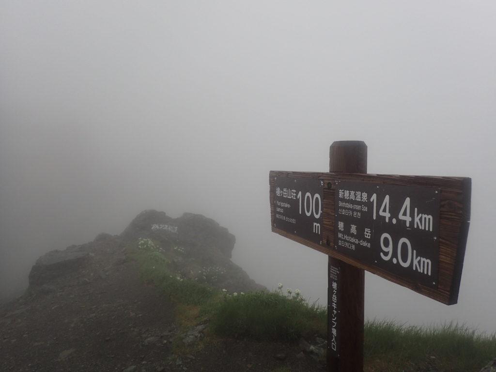 槍ヶ岳キャンプ場入口の看板