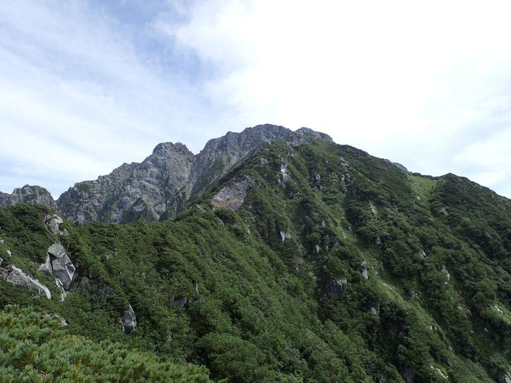 早月尾根から見上げる剱岳山頂方向