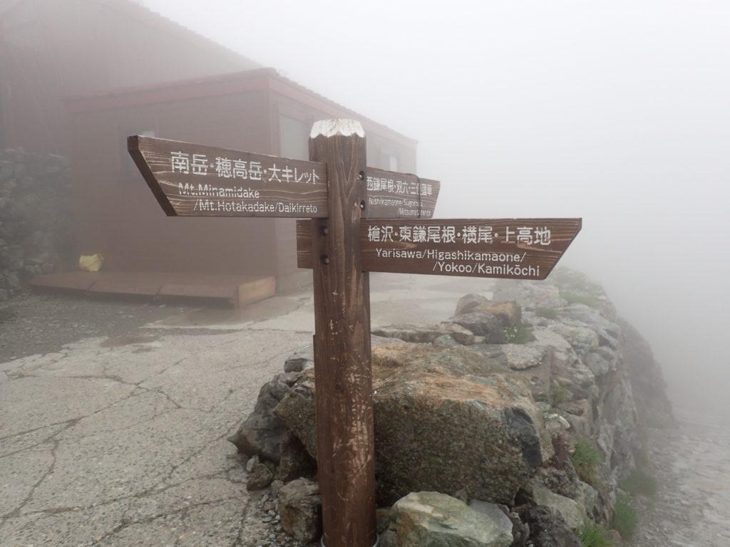 槍ヶ岳山荘前の看板