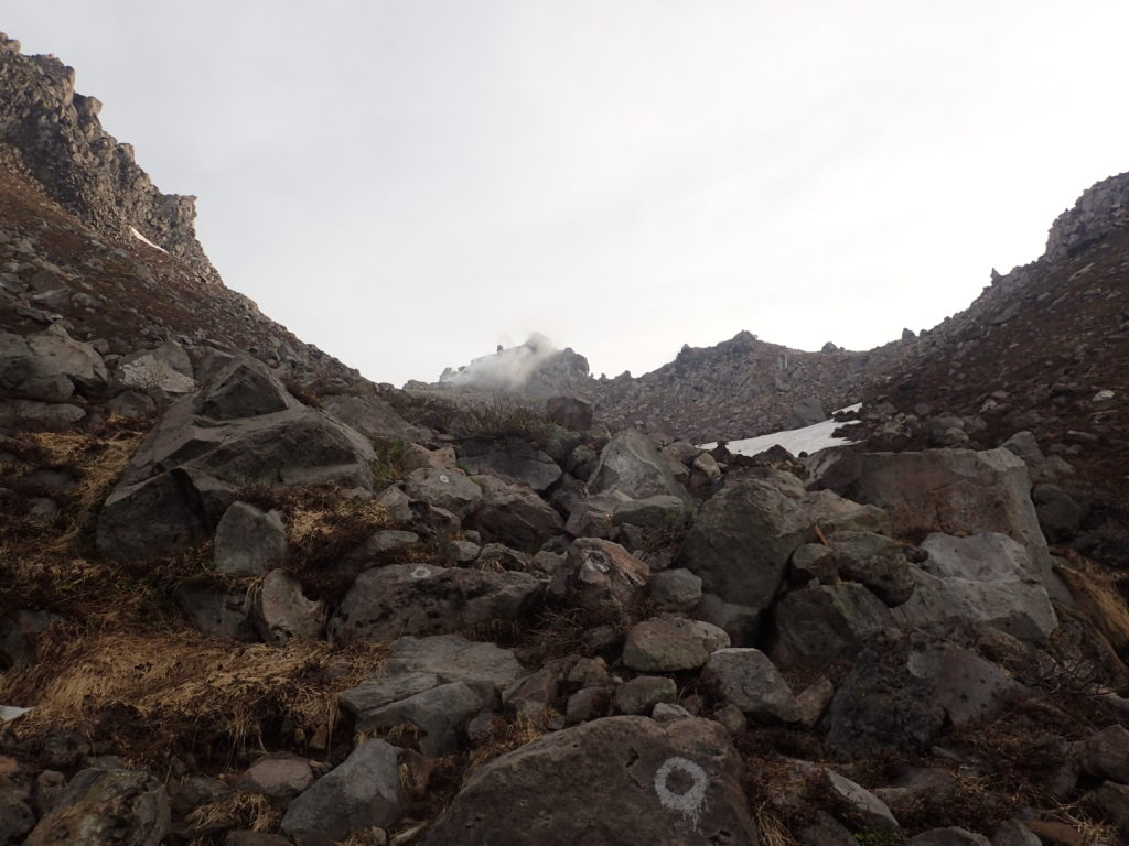 焼岳登山道(中の湯ルート)から見上げる焼岳稜線