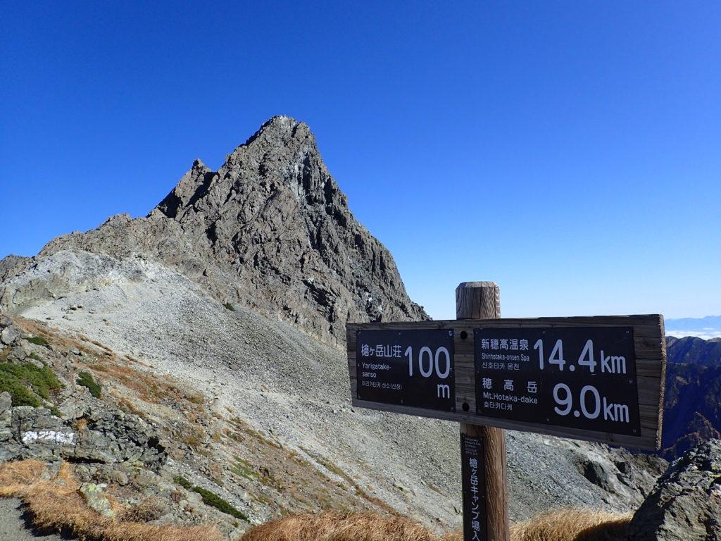 槍ヶ岳キャンプ場入口の看板と槍ヶ岳の穂先