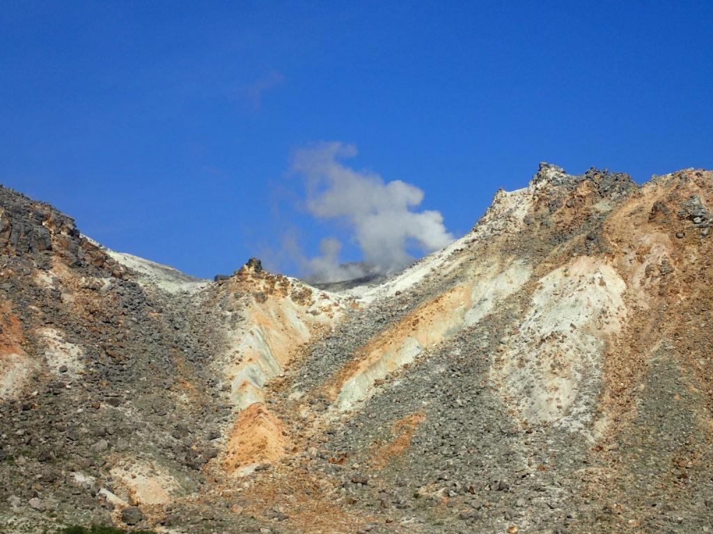 九重連山の硫黄岳の煙