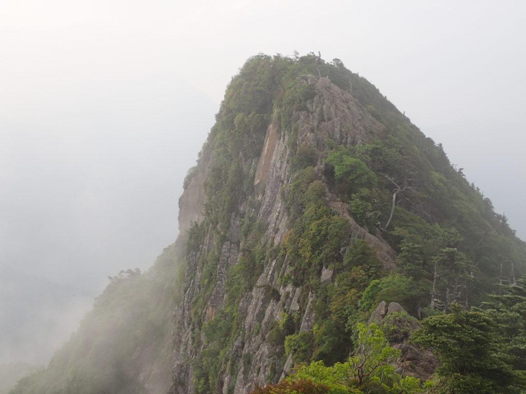 石鎚山の天狗岳から先のピークと絶壁