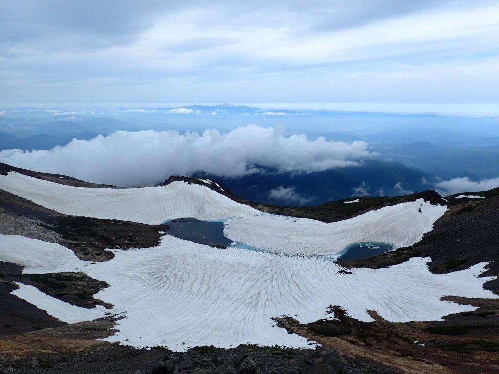 乗鞍岳最高峰の剣ヶ峰から見る権現池