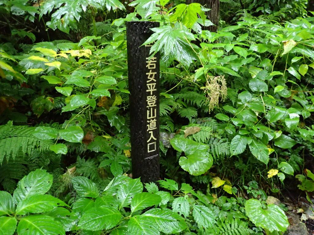 吾妻山(西吾妻山)の若女平登山道入口の標