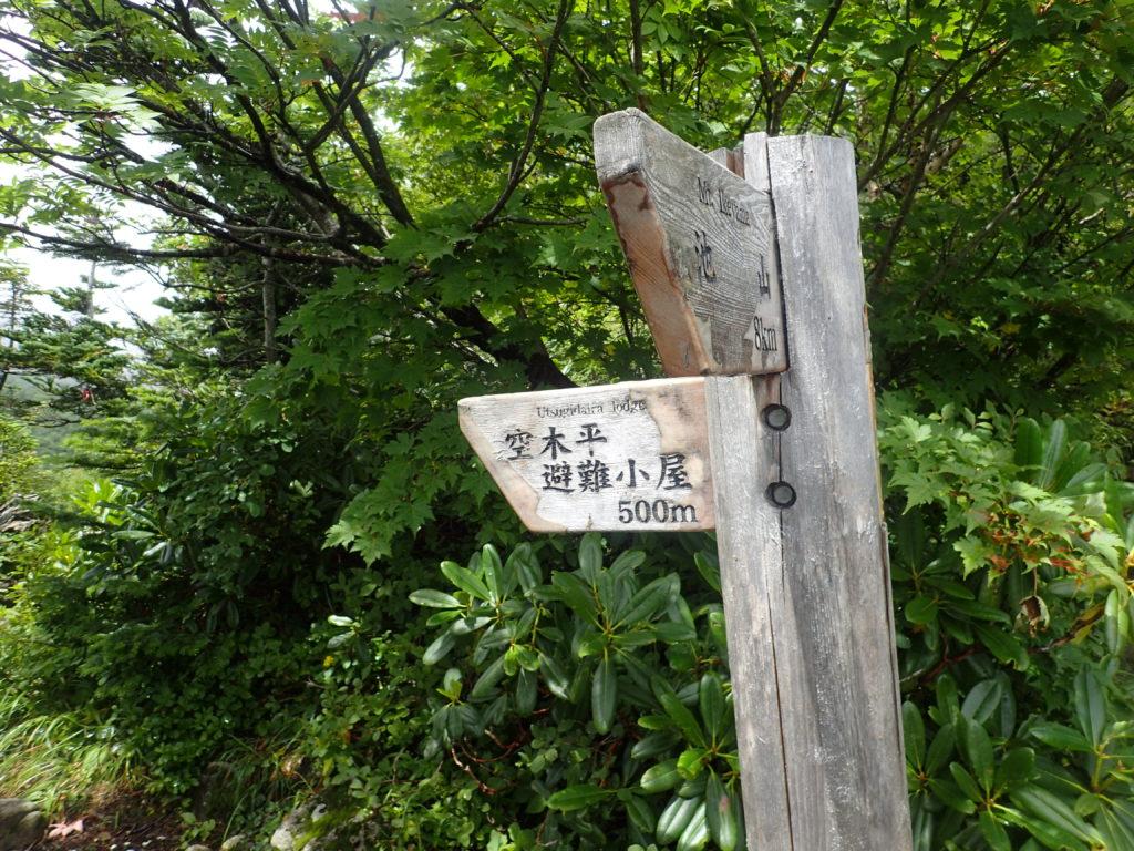 空木岳登山道の空木平避難小屋との分岐