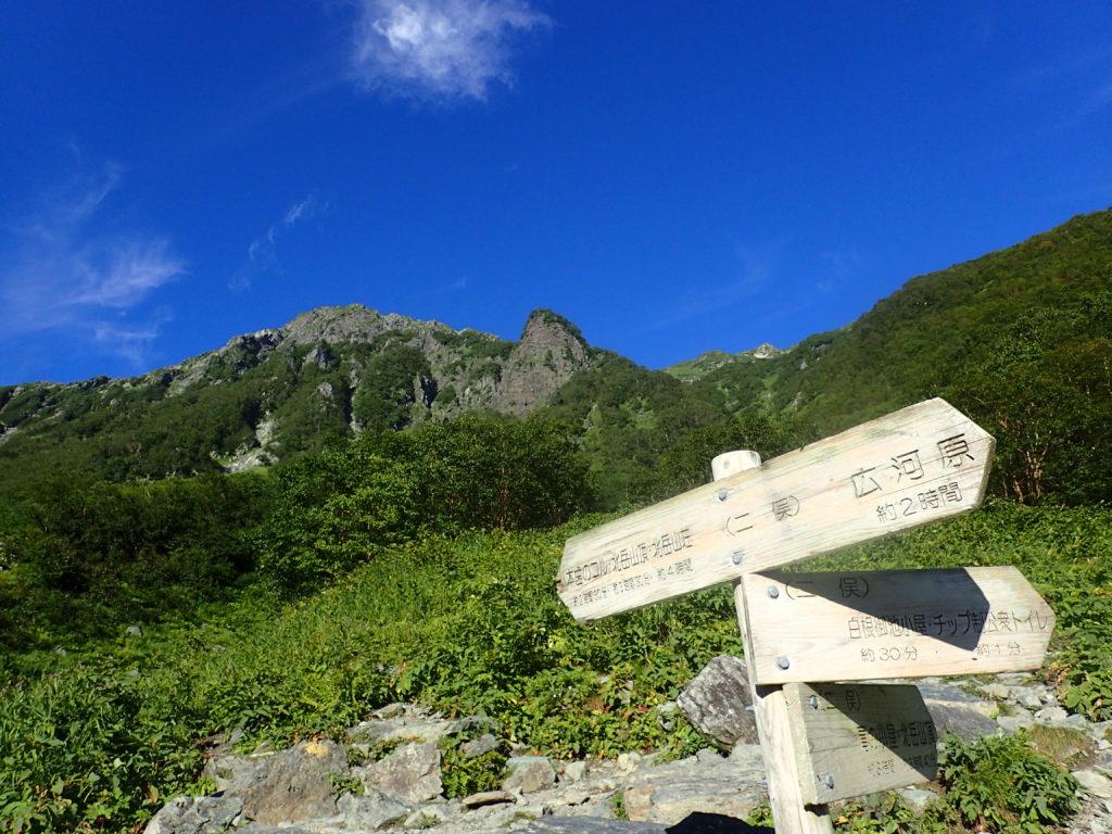 北岳登山道の二股