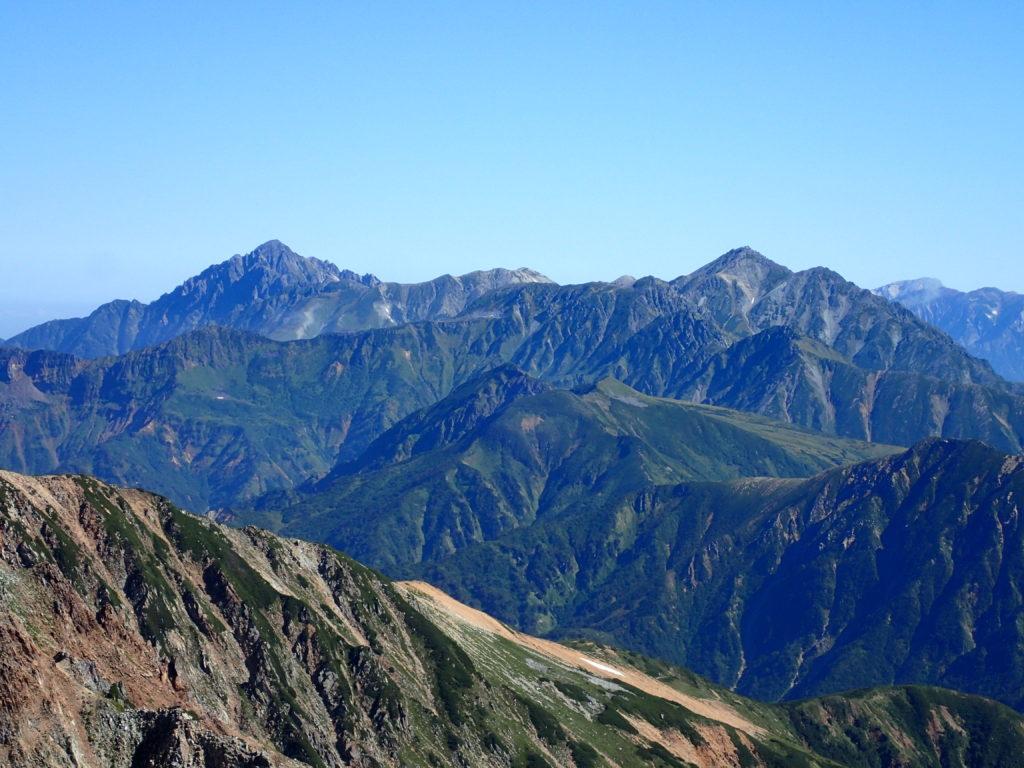 薬師岳から眺める剱岳と立山