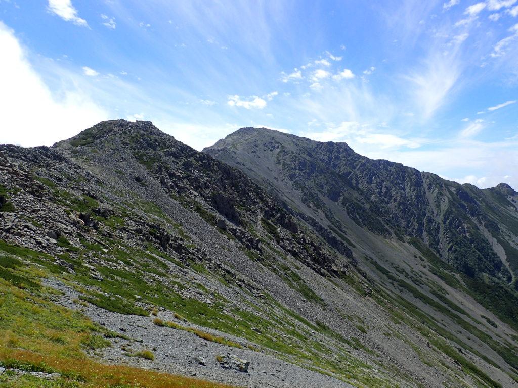 間ノ岳の稜線