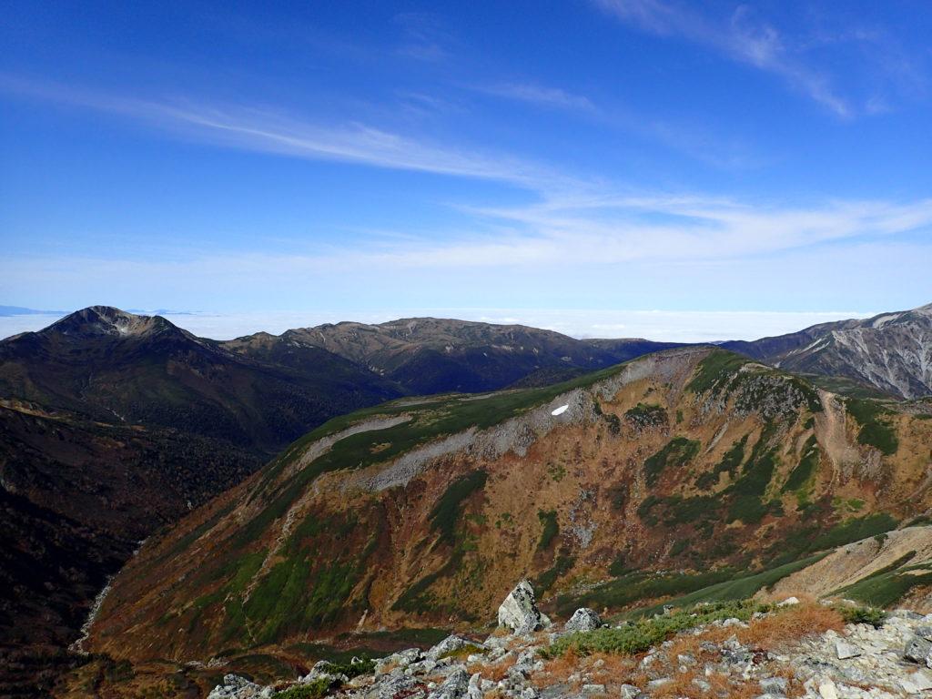 鷲羽岳から見る黒部五郎岳と祖父岳