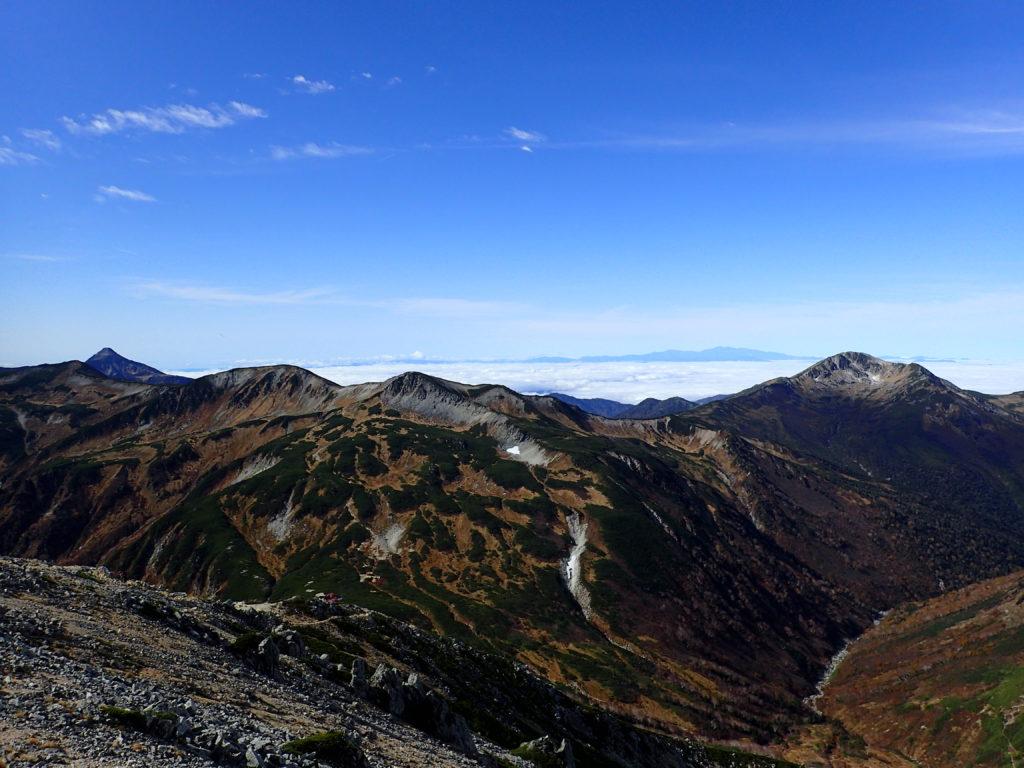 鷲羽岳から見る笠ヶ岳と三俣蓮華岳と黒部五郎岳と白山