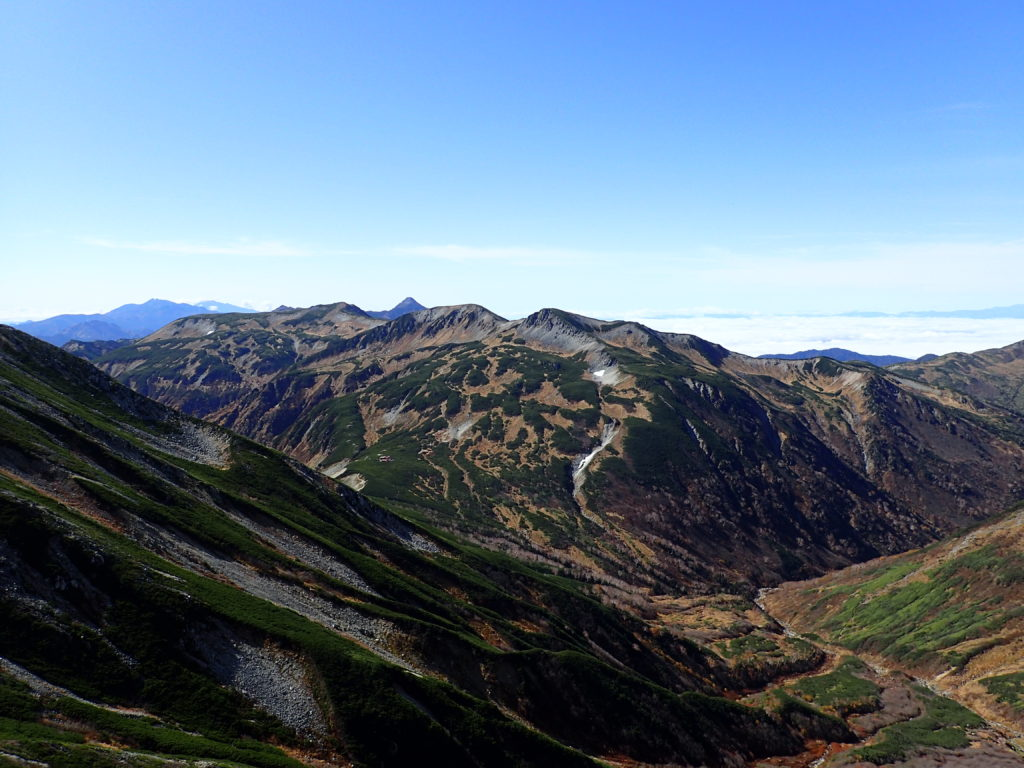 ワリモ岳付近から見る三俣蓮華岳と笠ヶ岳