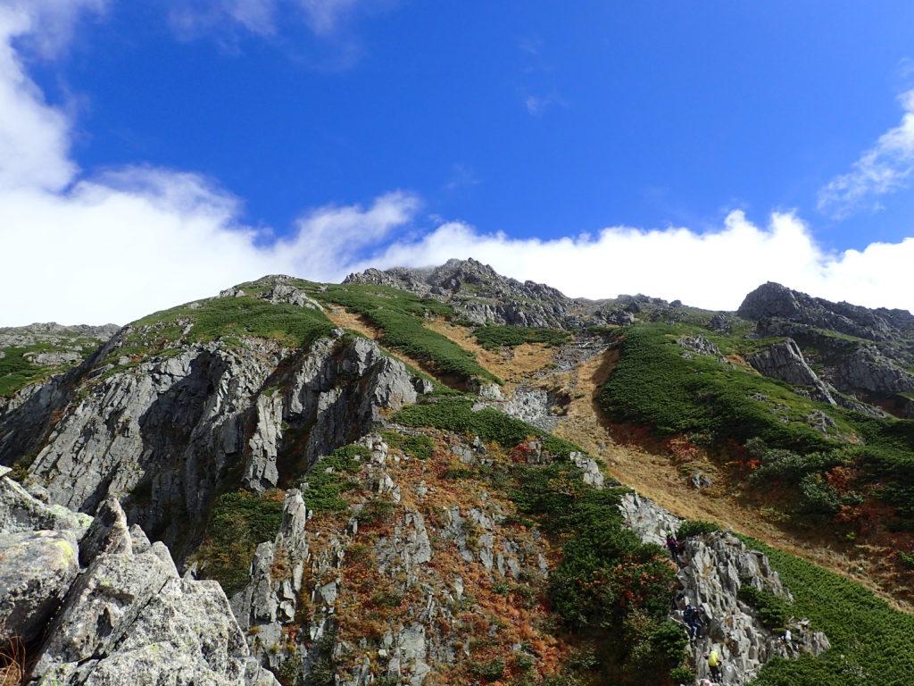 重太郎新道から見上げる前穂高岳