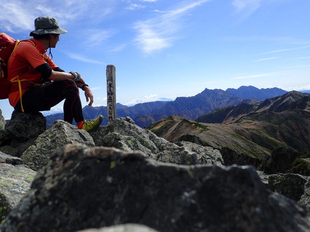 水晶岳山頂で記念自撮り