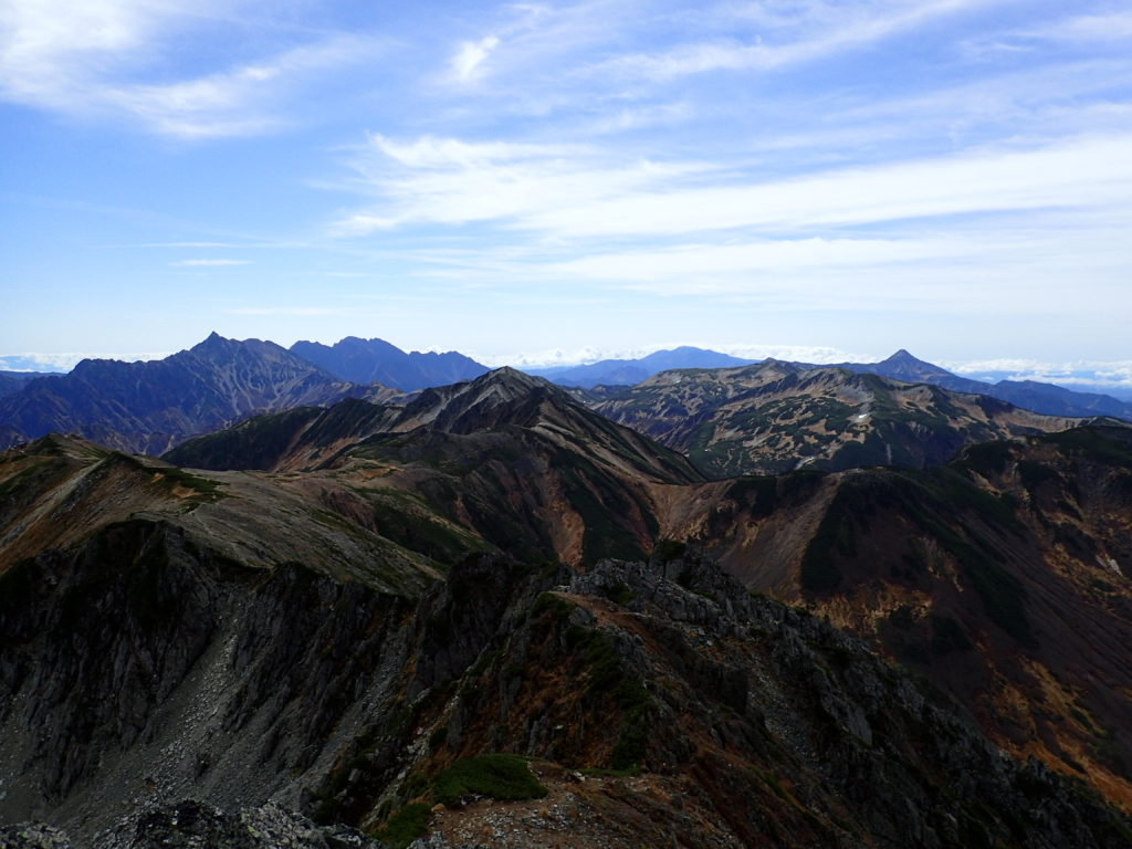 水晶岳山頂からの景色