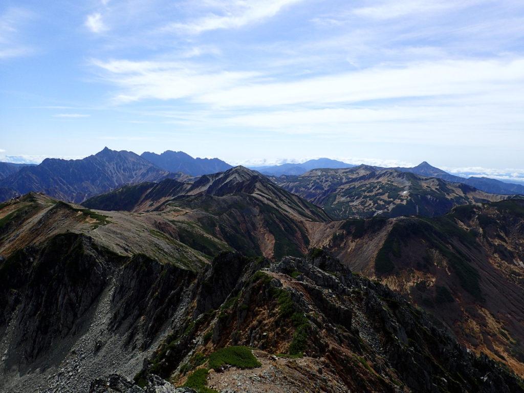 水晶岳山頂から見る景色