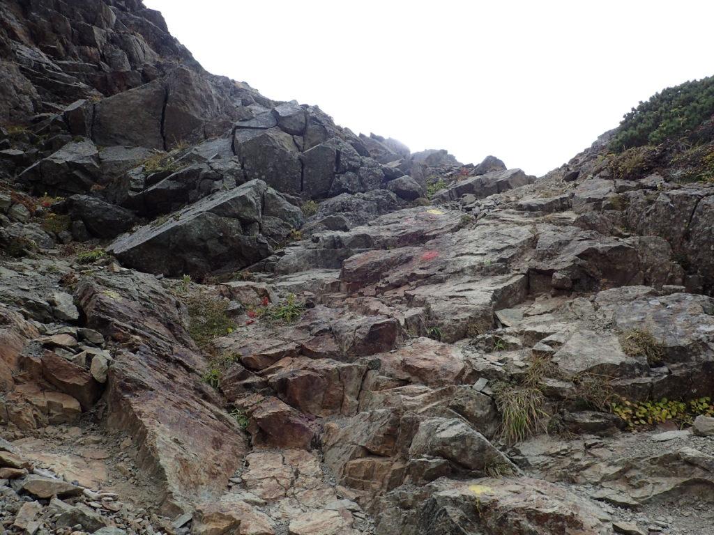 塩見岳山頂直下の岩場